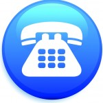 telephone icon on round internet button